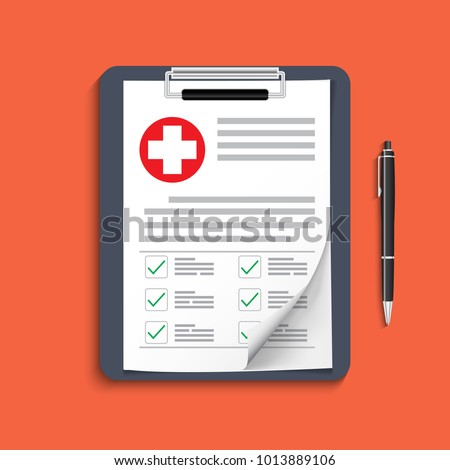 Clipboard with medical cross and pen. Clinical record, prescription, claim, medical check marks report, health insurance concepts. Premium quality. Modern flat design graphic elements. Vector illustra #1013889106