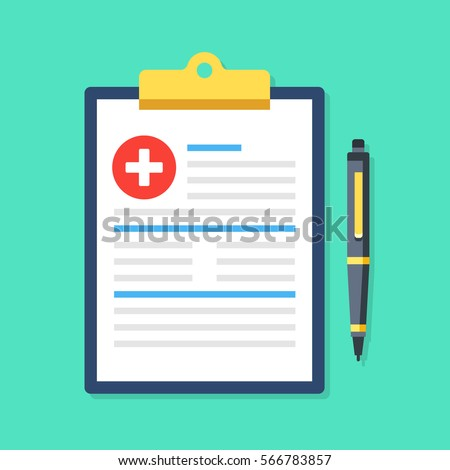 Clipboard with medical cross and pen. Clinical record, prescription, claim, medical report, health insurance concepts. Premium quality. Modern flat design graphic elements. Vector illustration.