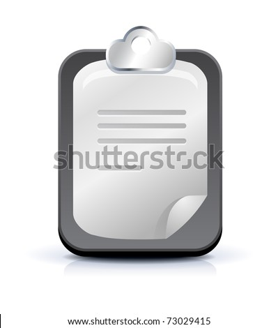 Clipboard with paper on white