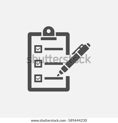 clipboard with pen vector icon