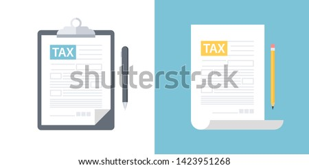 Clipboard with tax form and pen, tax form with pencil. Tax declaration or income taxation flat design vector illustration.