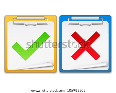 Clipboards with check and cross symbols, vector eps10 illustration