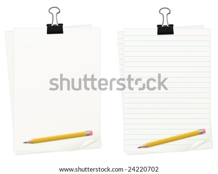 Clipped Paper With Pencil Set. Easy To Edit Vector Image.