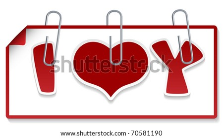 """Clipped sign """"I love you"""" (Element for design vector illustration) - stock vector"""