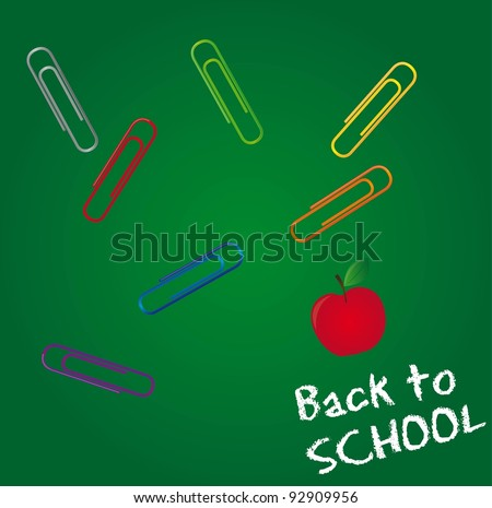 clips and apple over chalkboard, back to school. vector illustration