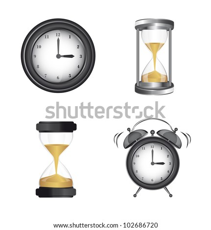 clock alarm and hourglass icons over white background. vector