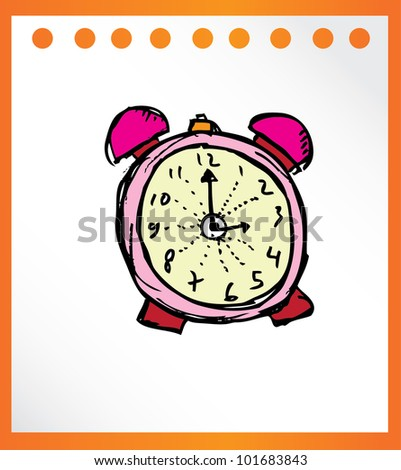clock analog hand drawn - vector illustrator