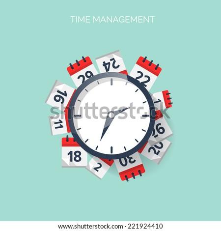 Clock and calendar. Time management concept background