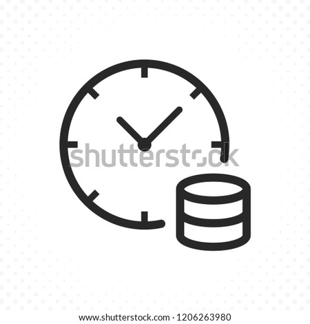 Clock and coins icon. Time is money concept, Bank loans symbol. Long term investment, Income growth illustration. Time management, Savings plan symbol Stockfoto ©