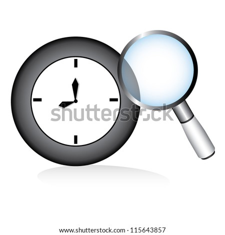 clock and magnifier