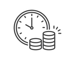 clock and money. Cash advance, fundraising, fiscal period, annuity, income increase, financing efficiency, return on investment, budget planning, accounting concept, audit report, vector flat icon