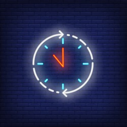Clock, anytime neon sign. Round clock service advertisement design. Night bright neon sign, colorful billboard, light banner. Vector illustration in neon style.