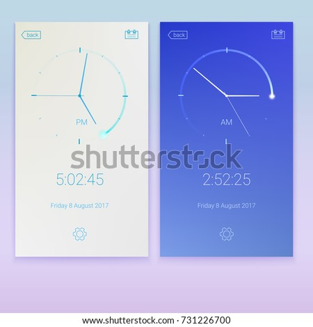 Clock application, concept of UI design, day and night variants. Digital app, user interface kit, UI elements. Mobile clock interface, 3D illustration