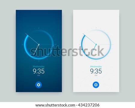 Clock Application UI Design Concept, Vector EPS 10 Illustration