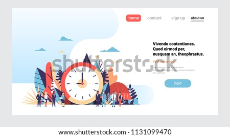 clock business people hand hold clipboard mix race working together punctuality concept over flat horizontal copy space vector illustration