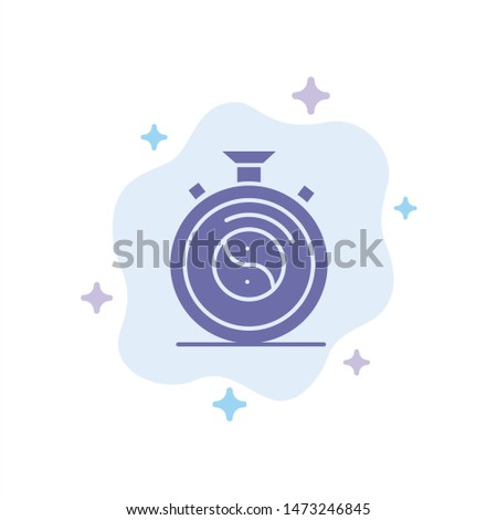 Clock, Concentration, Meditation, Practice Blue Icon on Abstract Cloud Background