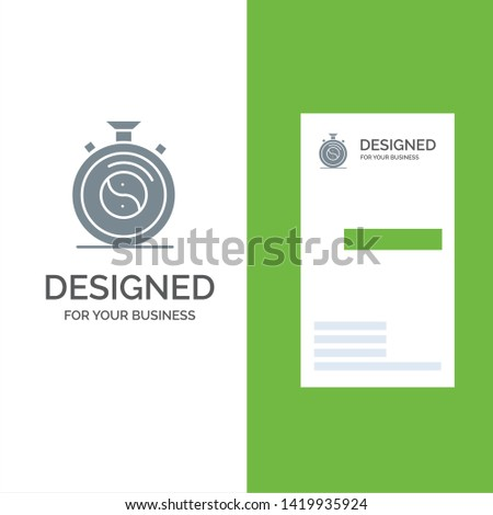 Clock, Concentration, Meditation, Practice Grey Logo Design and Business Card Template