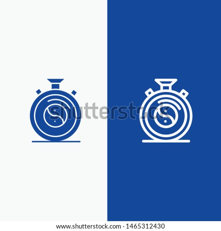 Clock, Concentration, Meditation, Practice Line and Glyph Solid icon Blue banner Line and Glyph Solid icon Blue banner. Vector Icon Template background