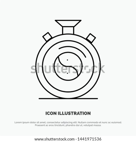 Clock, Concentration, Meditation, Practice Line Icon Vector