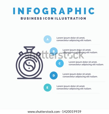 Clock, Concentration, Meditation, Practice Line icon with 5 steps presentation infographics Background