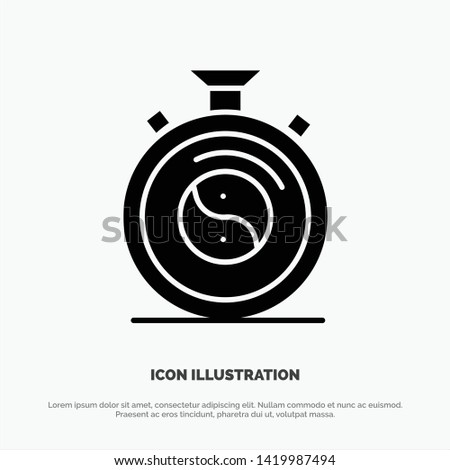 Clock, Concentration, Meditation, Practice solid Glyph Icon vector