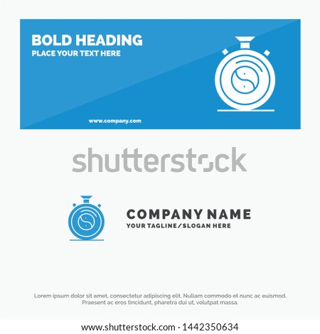 Clock, Concentration, Meditation, Practice SOlid Icon Website Banner and Business Logo Template