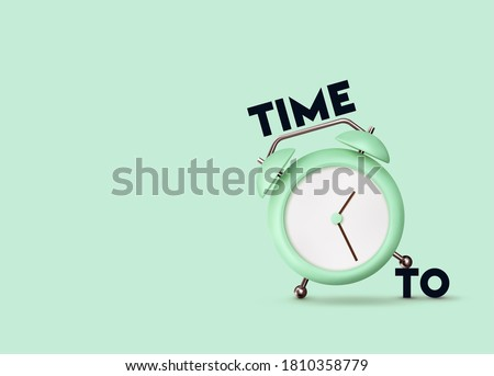 Clock 3d Vector. Alarm clock realistic of plastic in soft pastel colors. Time to the watch. vector illustration