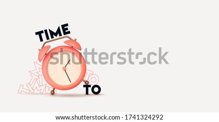 Clock 3d Vector. Pink Alarm clock realistic of plastic in soft pastel colors. Design Time to the watch. Object isolated on white background. Net space for your text