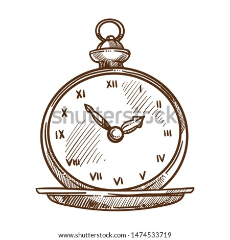 Clock dial with hands vintage pocket watch isolated sketch retro male accessory vector time measurement old-fashioned gentlemans garment, outfit element relic monochrome drawing mechanism of cogwheels