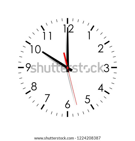 Clock face isolated on white background. 10 o'clock. Vector illustration Сток-фото ©