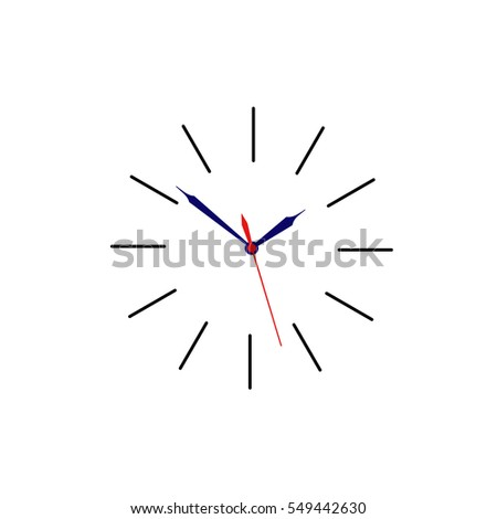 Clock face placed on white background. Vector illustration.