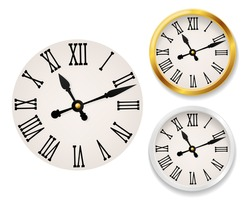 Clock face retro. Wall tower clocks with roman numerals and antique classic hands in golden and white round watch case. Elegant design vintage interior decor vector realistic set