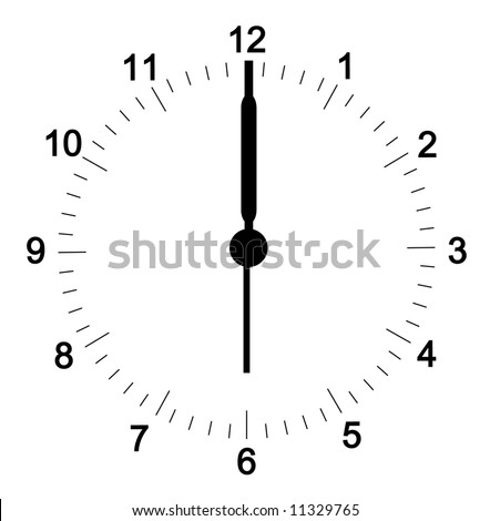 clock face with minutes set at six o'clock - hands can be  adjusted to your position - vector
