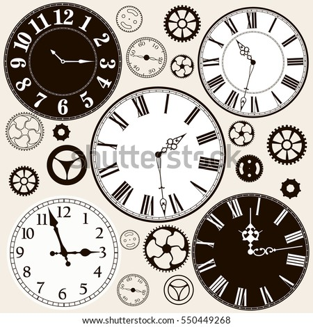 clock faces with parts. vector...