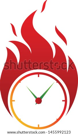 Clock fire deadline vector icon in abstract style. Fire icon isolated on white background. Vector illustration EPS.8 EPS.10