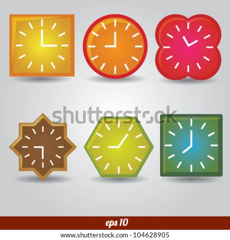 Clock glossy vector set