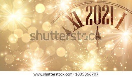 Clock hands showing few minutes to 2021 year. Creative clock on gold sparkling background with lights and fireworks. Vector holiday illustration.