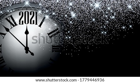 Clock hands showing 2021 year instead of 12 o'clock. Creative dark clock with silver confetti and shiny stars on black background. Vector holiday illustration.