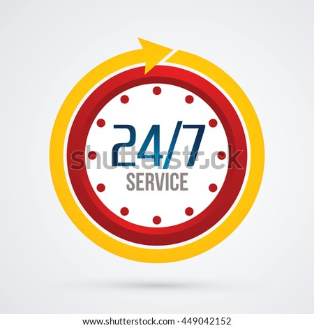 Clock 24 hours a day and 7 days service sign graphic vector.