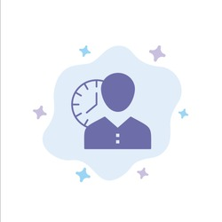 Clock, Hours, Man, Personal, Schedule, Time, Timing, User Blue Icon on Abstract Cloud Background. Vector Icon Template background