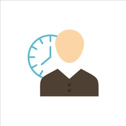 Clock, Hours, Man, Personal, Schedule, Time, Timing, User  Flat Color Icon. Vector icon banner Template. Vector Icon Template background