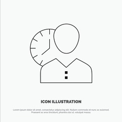 Clock, Hours, Man, Personal, Schedule, Time, Timing, User Line Icon Vector. Vector Icon Template background