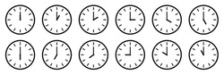 Clock icon collection. Time, stopwatch, clock hours set of isolated signs. Stock vector elements. EPS 10