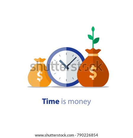 Clock icon, financial period, annual payment, income growth, finance productivity, return on investment, budget planning, expenses concept, accounting report, statistic analytics, vector illustration