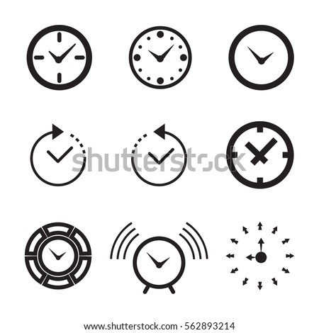 Clock Icon Isolated. Time Logo, Template, Pictogram. Trendy Watch, Timepiece or Timer Symbol