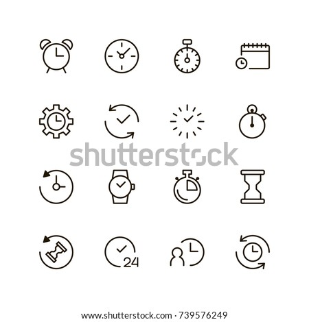 Clock icon set. Collection of high quality outline time pictograms in modern flat style. Black timer symbol for web design and mobile app on white background. Stopwatch line logo.