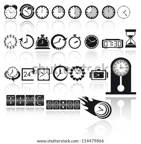 Clock icon set. Vector EPS10