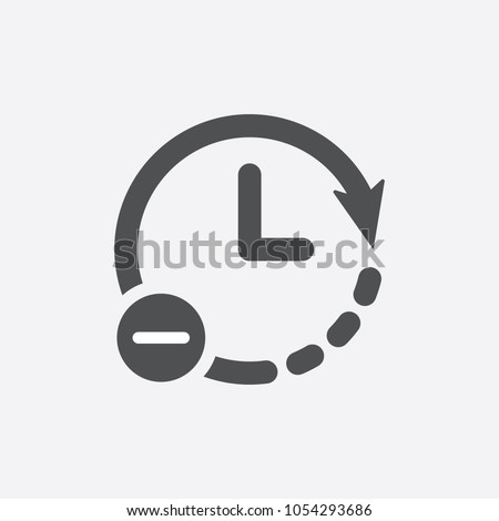Clock icon. Time reduce icon simple vector iIllustration. Less time concept. Time, reduce, icon, less, vector, clock, watch, accuracy, blog, business, chronometer