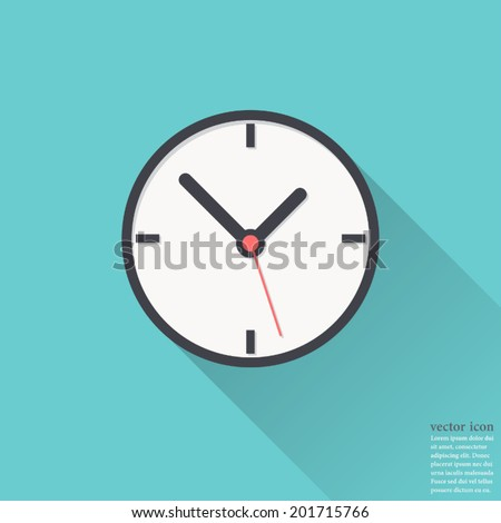 Clock icon , Vector illustration flat design with long shadow