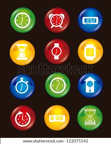 clock icons over black background. vector illustration